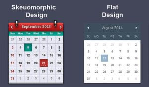 the difference between skeuomorphism design and flat design. Comparing two calendars.